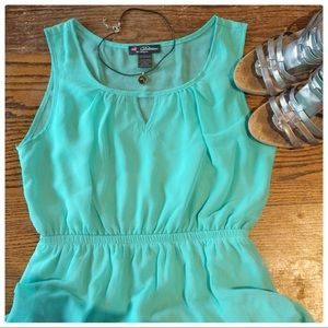 Teal High-Low dress by Delirious Los Angeles